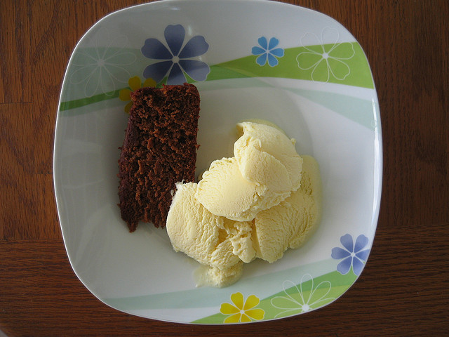Black cake and ice cream; photo by Steve Loya, used under a CC BY-NC-ND 2.0 license.