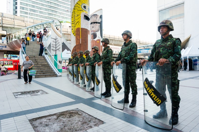 Soldiers standing guard outside of Bangkok Art and Culture Centre after the army launched a coup in May 2014. Photo by Hon Keong Soo, Copyright @Demotix (5/24/2014)