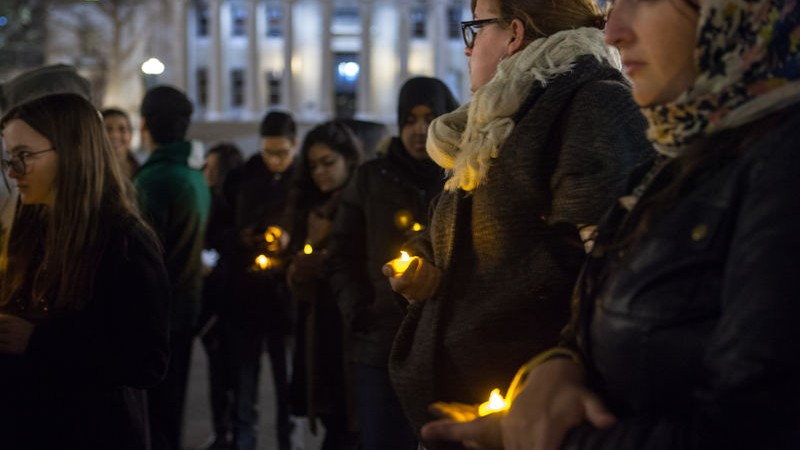 Columbia students and other members of the community joined a campus candlelight vigil to support the victims of the Peshawar attacks. Image by Mansura Khanam. Copyright Demotix (17/12/2014)