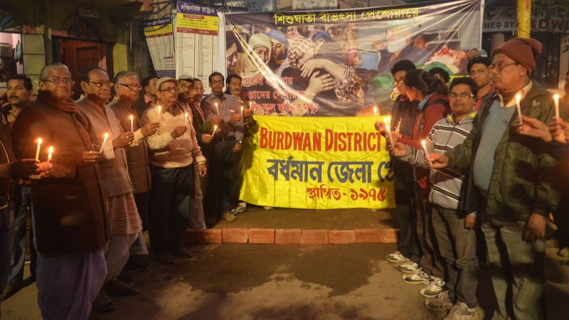 Burdwan District Press Club organised a Candlelight Rally in At Burdwan, West Bengal, India, protesting against Taliban terror attack on Army Public School in Peshawar.  Image by Sanjoy Karmaker (18/12/2014)