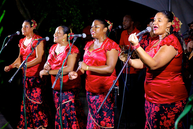 Parang singers in Trinidad & Tobago; photo by Edmund Gall, used under a CC BY-SA 2.0 license.