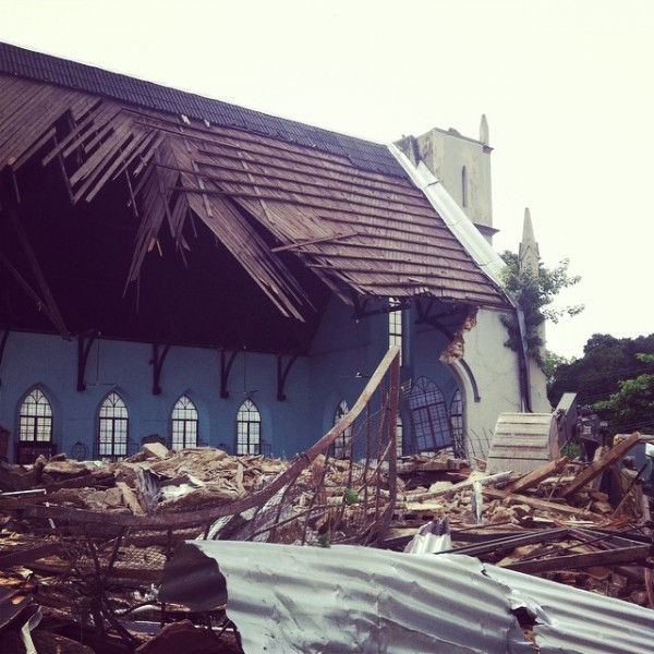 A demolished portion of the historic Greyfriars Presbyterian Church in Port of Spain, Trinidad. The church was built in the 1800s. Photo by Joshua Lue Chee Kong, used with permission.