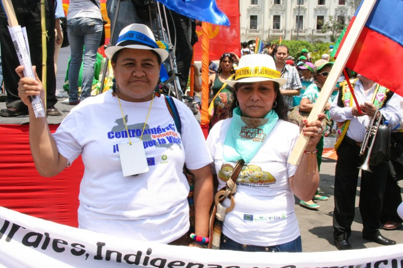 Women peasants from Central Latin America travelled from afar for the chance to put a spotlight on the environmental plights in their region. Photo credit: Hoda Baraka