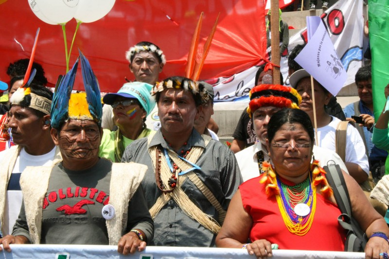 Indigenous communities at the forefront of the climate crisis led the march in Lima. Photo credit: Hoda Baraka