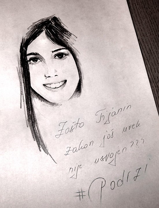 One of the images widely circulated on the Internet in the impromptu social media campaign for Tijana's Law. Drawing by unknown artist.