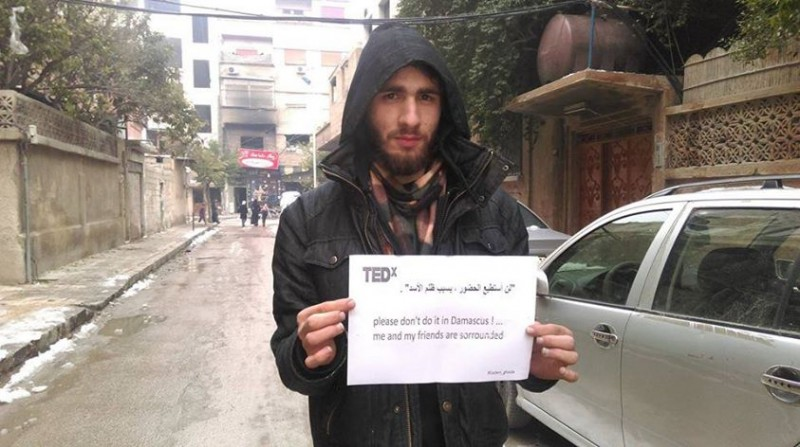 A Syrian from Ghouta sends a message against the celebration of TEDx in Damascus. Source: Kesh Malek's Facebook page