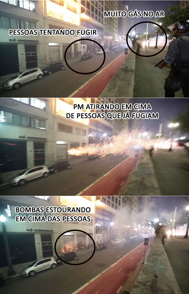 Stills of a video (link on the end of the post) showing people running on the streets and being targeted by the police.