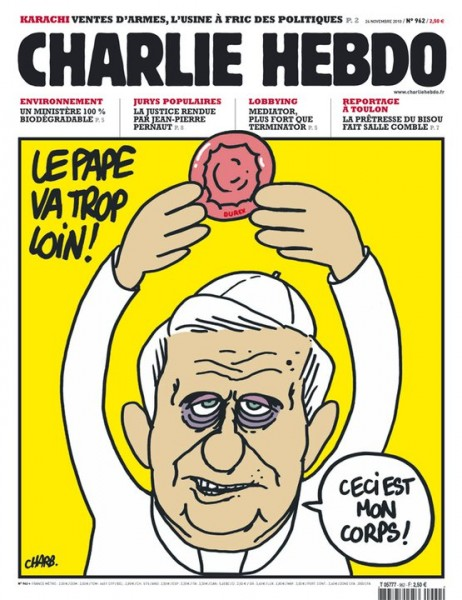 -The pope is going too far!  -This is my body! Image from Charlie Hebdo's Facebook page.