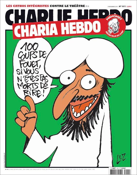 100 lashes if you are not laughing!  Images from Charlie Hebdo's Facebook page.
