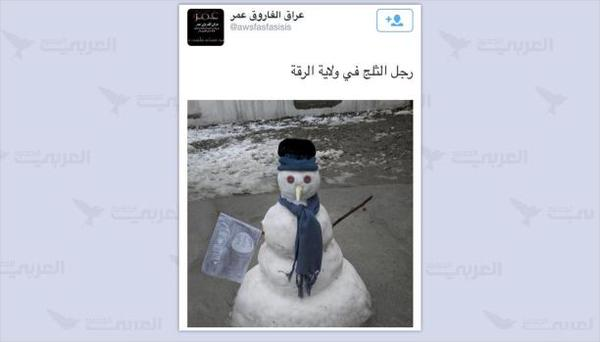 A snowman allegedly in Ar-Raqqa in Syria