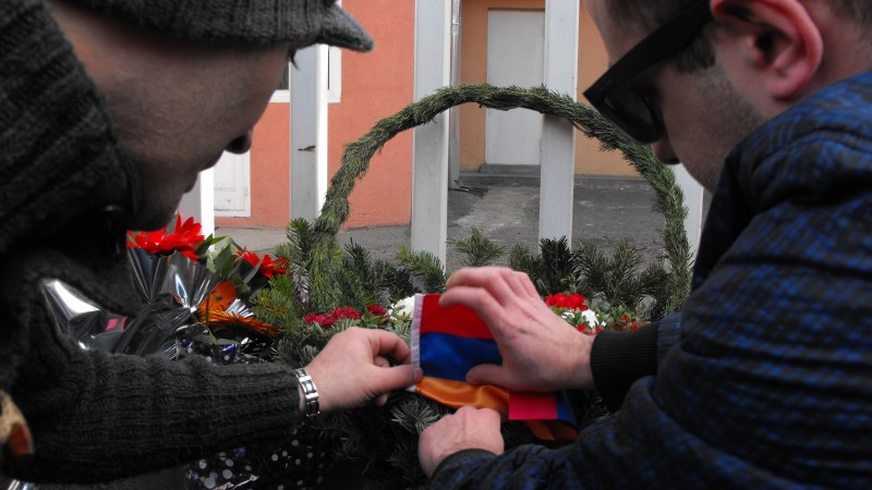 A wreath is laid outside the Armenian embassy in central Tbilisi. Photo by Joseph Smith.