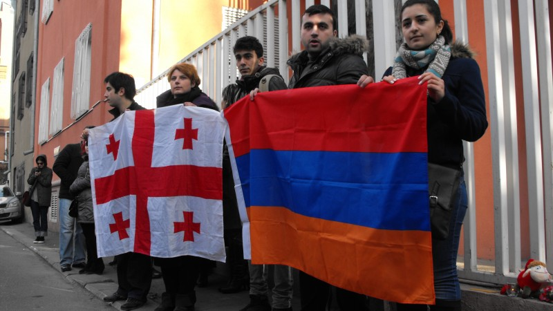 Georgians show solidarity outside the Armenian embassy. Photo buy Joseph Smith.