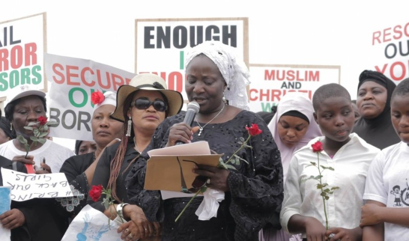 Nigerian pastor Esther Ibanga joined with Muslim leaders in the city of Jos to call for the return of Chibok girls who were kidnapped by the extremist group Boko Haram. Credit: Women Without Walls Initiative (Willie Abok). Published with PRI's permission