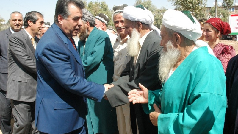 Tajik President Emomali Rahmon meets with elders during a working trip. Wikipedia image.