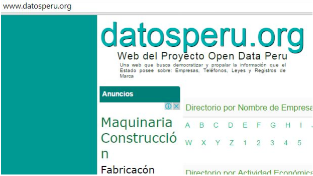 Screenshot taken from the site Datosperu when it was online.