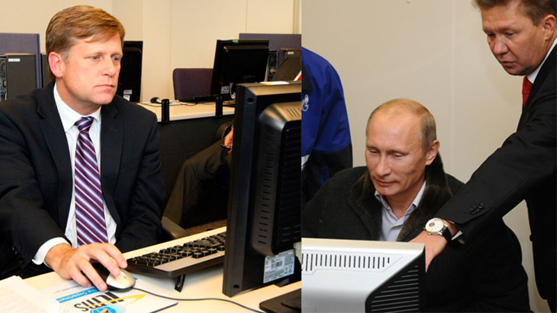 Michael McFaul, left, and Vladimir Putin, right. Images edited by Kevin Rothrock.