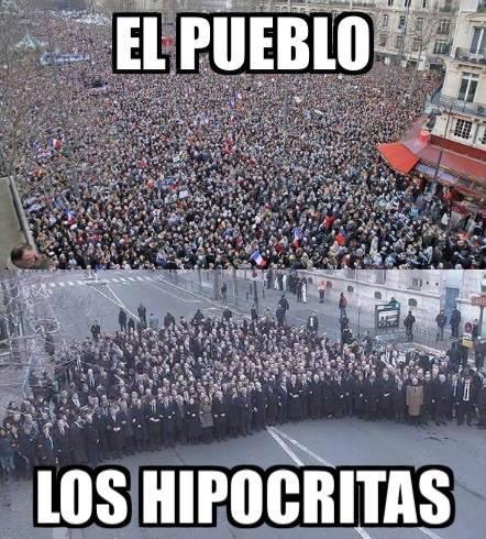 """Democracia real YA! Madrid shared on Facebook. """"El Pueblo y los Hipócritas""""-""""The people and the hypocrites"""""""