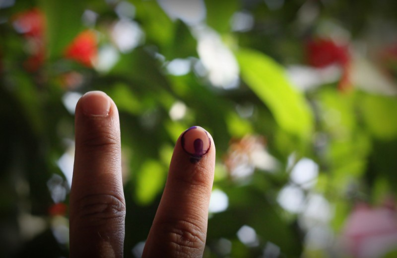 """I Voted""; photo by Krishna Praveen, used under a (CC BY-NC-SA 2.0 license."