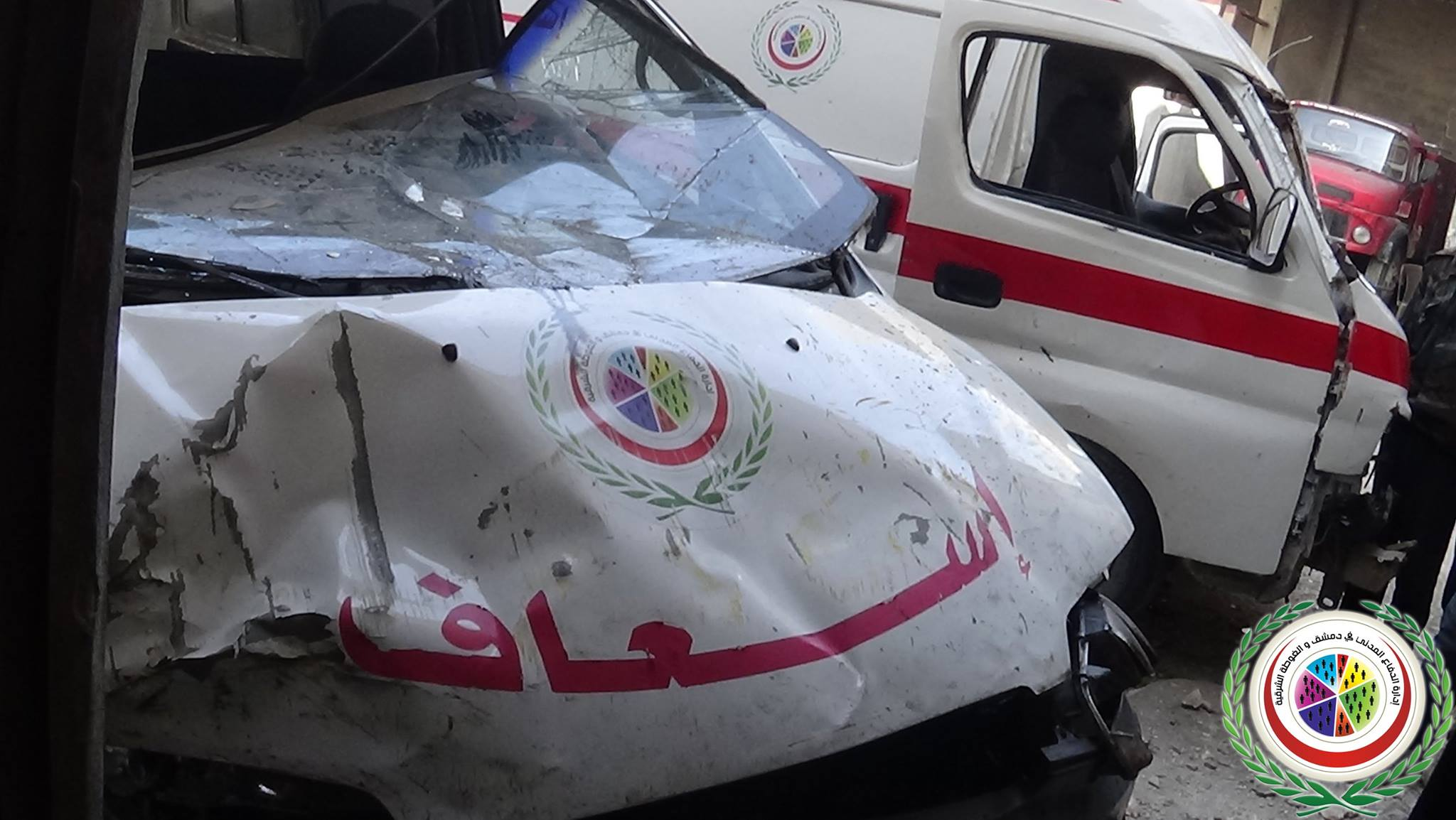 Ambulances in Douma were reportedly targeted and destroyed by government forces on February 5 Photo source: Damascus Media Center  Facebook Page]