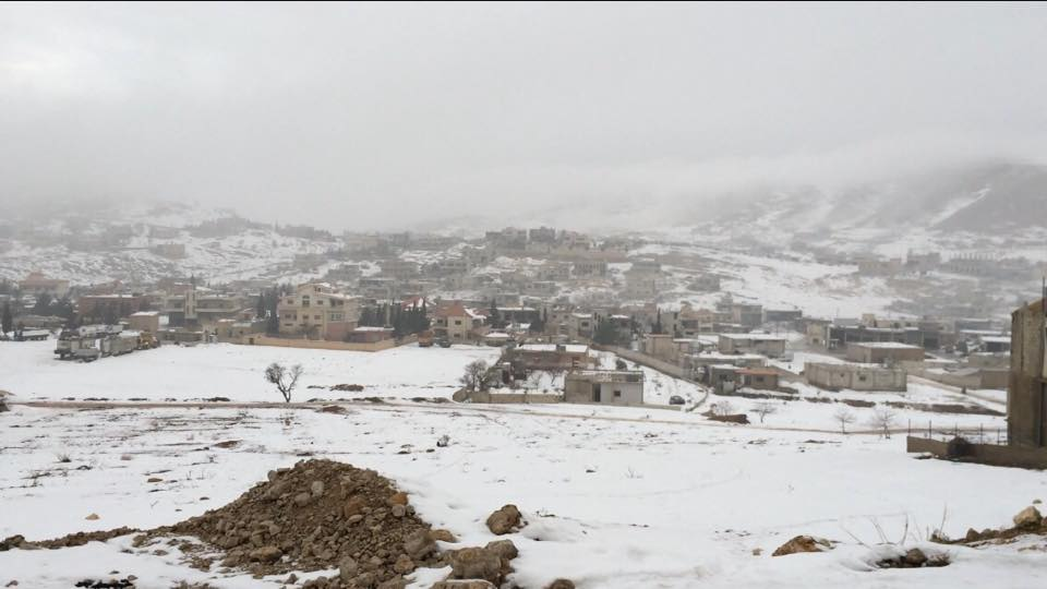 Arsal, North East Lebanon, covered with snow. Picture taken by 'Lebanese for Refugees' with Permission.