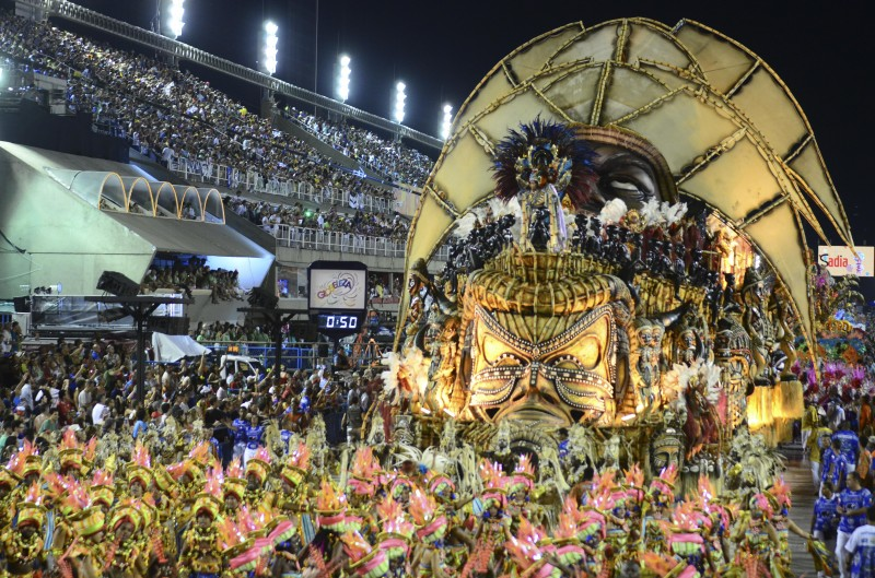 Samba School Beija-Flor parades in this year's carnival in Rio amid allegations it received funding from an African dictatorship. Image by: Marcelo Fonseca/Demotix