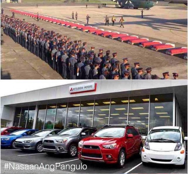 """RETWEET if you think PNoy should've attended the arrival of honors instead of that Car Plant event. #NasaanAngPangulo"" tweets @BobOngWords."
