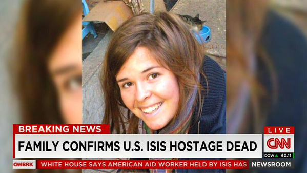 CNN announces that the US has confirmed that ISIS captive Kayla Mueller is dead. Photograph shared by @AdhamEtoom on Twitter