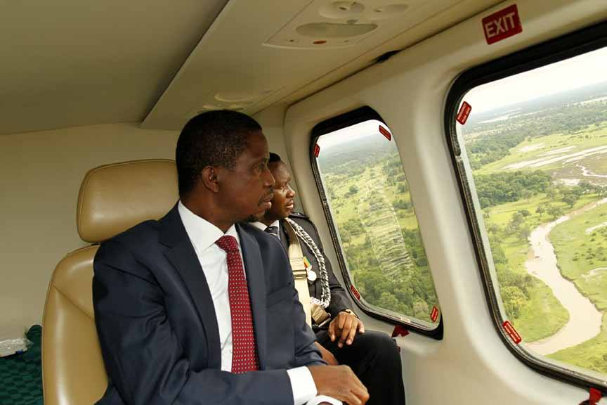 President Edgar Lungu on a helicopter ride viewing the South Luangwa National Park during a holiday he took two weeks into office. Picture used with permission of Salim Henry/SHENPA.
