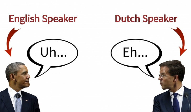 "US President Barack Obama and Dutch Prime Minister Mark Rutte both favor ""uh"" (or ""eh"" in Dutch) over ""um."" Younger people and women are more likely to say ""um."" Credit: PRI's The World/Reuters. Republished with permission"