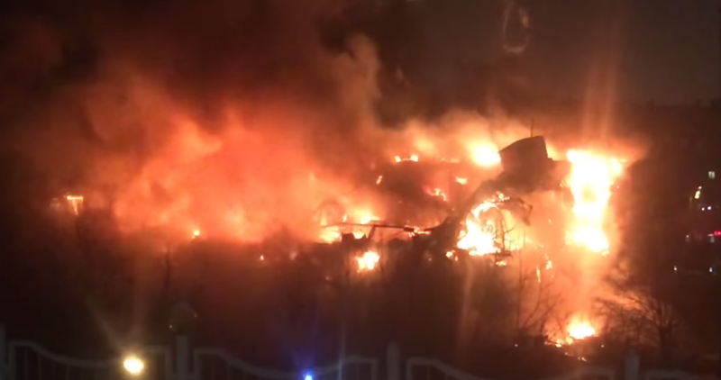 Screen capture from video of the fire at the Russian Academy of Sciences' Institute of Scientific Information on Social Sciences library. January 30, 2015. YouTube.