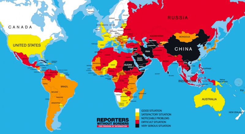 Word Press Freedom map 2014, by Reporters Without Borders.
