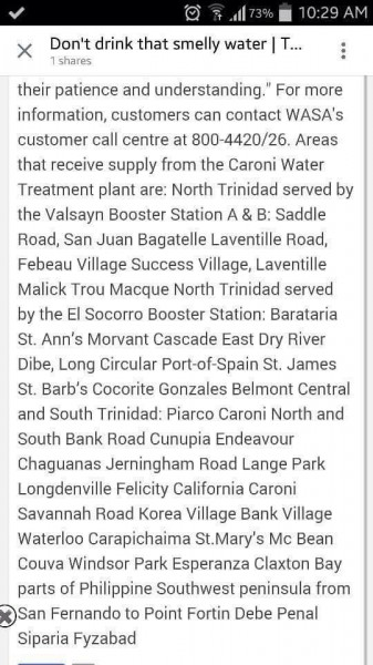 Areas affected by the contaminated water supply; screenshot of text that was widely shared.