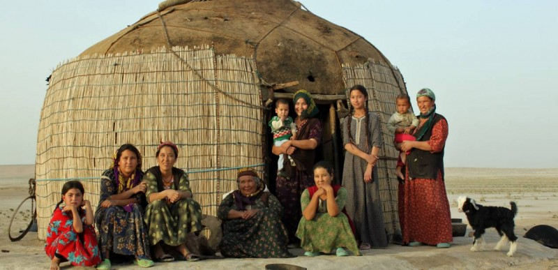 Semi-nomadic Turkmen women camp out in the Karakum desert. Photo: wildfrontierstravel.com.