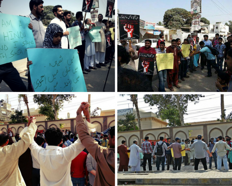 Pakistani youngsters form a human shield to show solidarity with Shia Muslims after recent attacks (Collage by GV Author)
