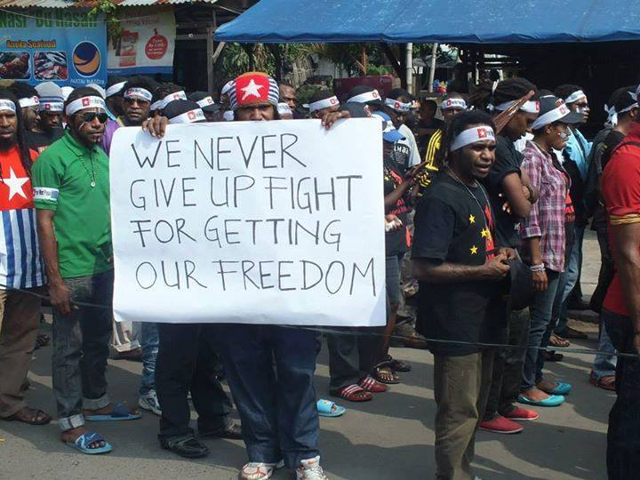 West Papuan students rallying for their rights. Image from Facebook of Free West Papua.