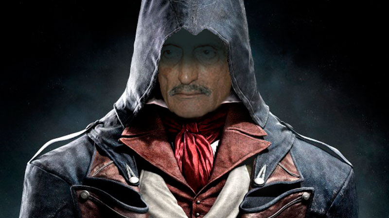 Haji Ghulam Ahmed Bilour, a Pakistani federal lawmaker, reimagined as a member of the Assassin Brotherhood. Images edited by Kevin Rothrock.