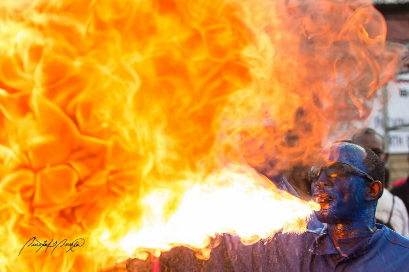Fire breathing blue devil. Photo by Quinten Questel, used under a CC BY-NC-ND 2.0 license.