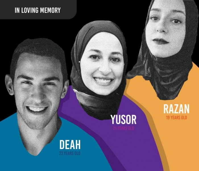 In loving memory; Deah, 23 years old; Yusor 21 years old; Razan 19 years old