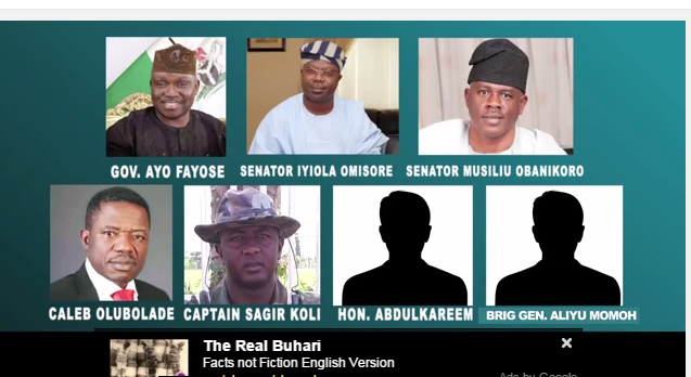 A screenshot of the main players in the #EkitiGate from a YouTube video posted by Sahara Reporters on Feb 6, 2015.