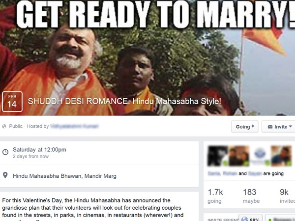 """SHUDDH DESI ROMANCE: Hindu Mahasabha Style!"" a  protest against Hindu Mahasabha's plan to marry off couples wishing ""I love you"" on social media or in public"