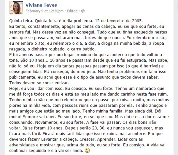 Screenshot of Viviane Teves' Facebook post.