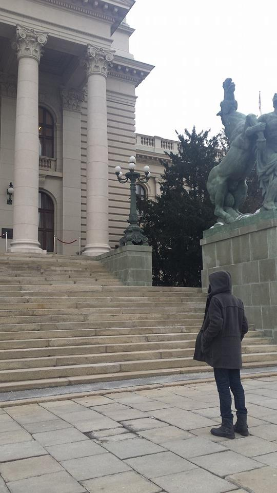 The author in front of the National Assembly of Serbia, waiting to hand in the signatures for the petition for Zoja's Law. Photo provided by the author.