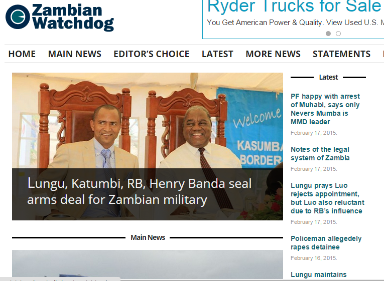 Screen shot of Zambian Watchdog on February 12, 2015.