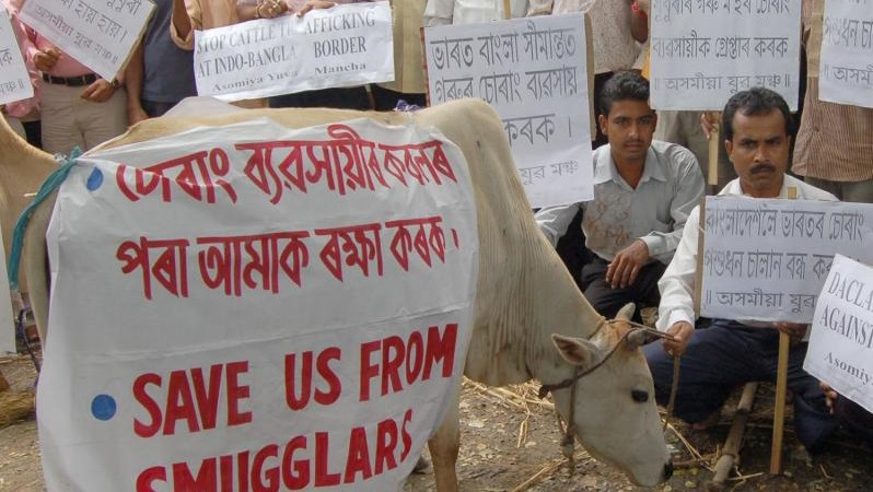 Protest in Guwahati, Assam, India against the smuggling of cattle to neighboring Bangladesh where they would be slaughtered. Image by Abdul Sajid. Copyright Demotix (28/8/2009)