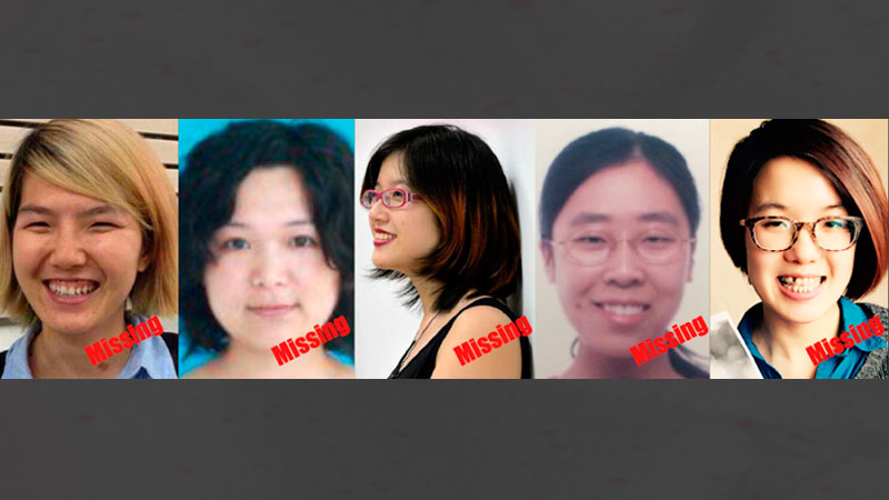 Five young women have been missing for more than a week. Photo from Free Chinese Feminists Facebook group.