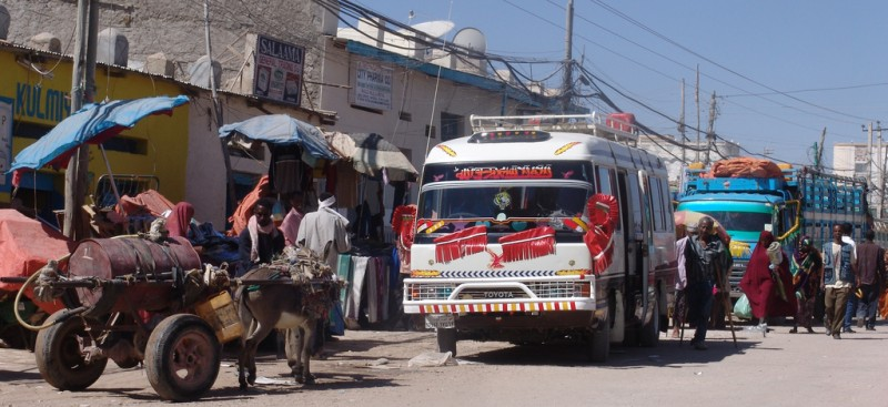 Buses in Hargeisa, Woqooyi Galbeed, Somalia. Photo by Flickr user Charles Roffey. CC BY-NC-SA 2.0