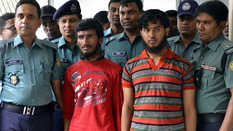 Bangladeshi police have arrested two men, allegedly to be religious students for the stabbing murder of blogger Washiqur Rahman aged 27 in Dhaka, Bangladesh. Image by Sony Ramany. Copyright Demotix