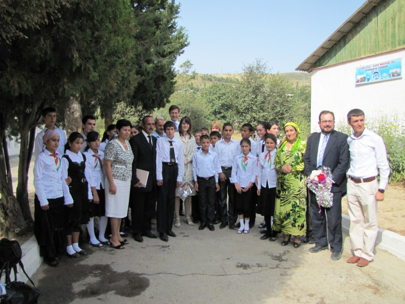 Robert Blake, then US Assistant Secretary of State for South and Central Asian Affairs attends the first day of school in Tajikistan. Many Ozodi readers believe sex education is imported from the West. Wikipedia image.