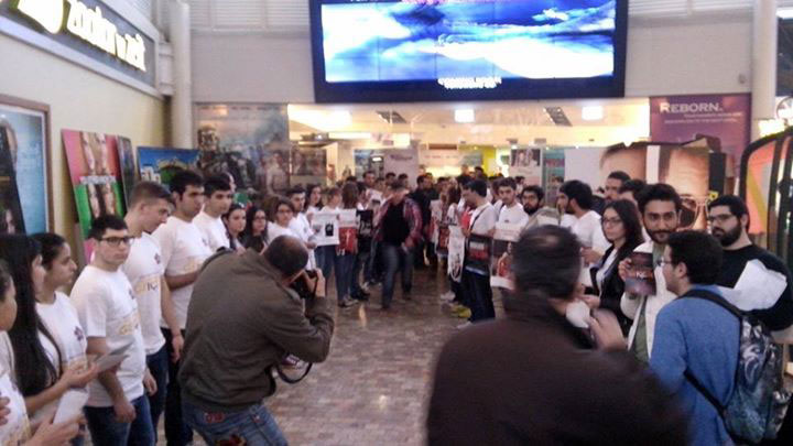 Lebanese-Armenian Protesters outside the movie theater. Image from AztagDaily