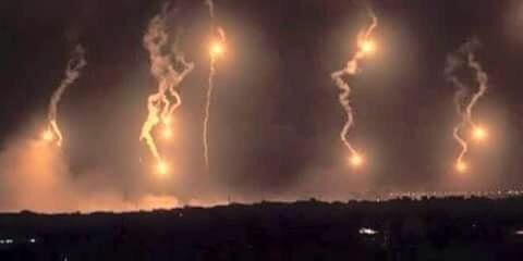 Saudi-led coalition airstrikes on Sanaa. Photograph shared by Yemeni blogger @mareb_elward on Twitter